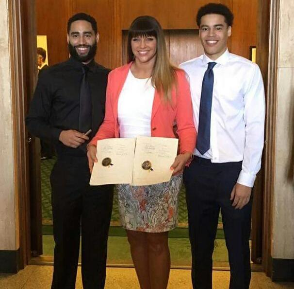 Brenda Tracy with her Sons