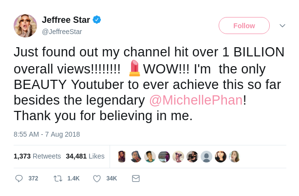 Jeffree Star's Youtube Tweet