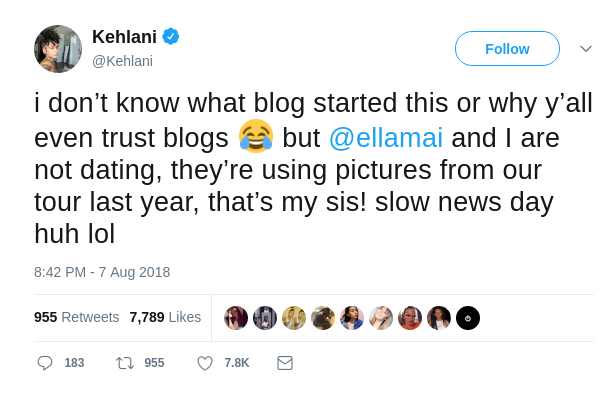Kehlani's Dating Tweet