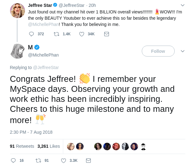 Michelle Phan's Reply Tweet to Jeffree Star