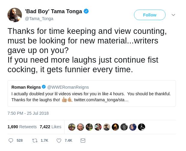 Tama Tonga Second Tweet