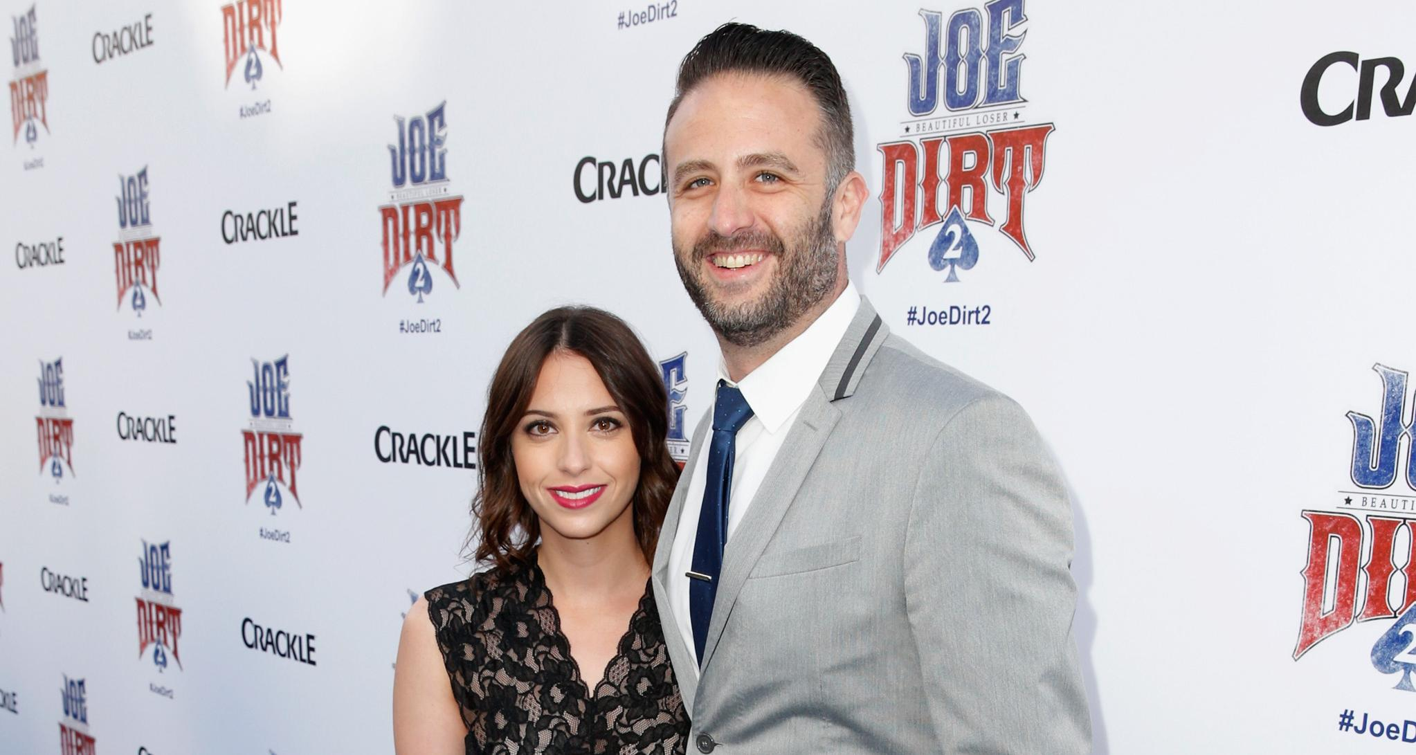 Actor Adam Eget (R) attends the world premiere of Crackle's Joe Dirt 2: Beautiful Loser at Sony Pictures Studios