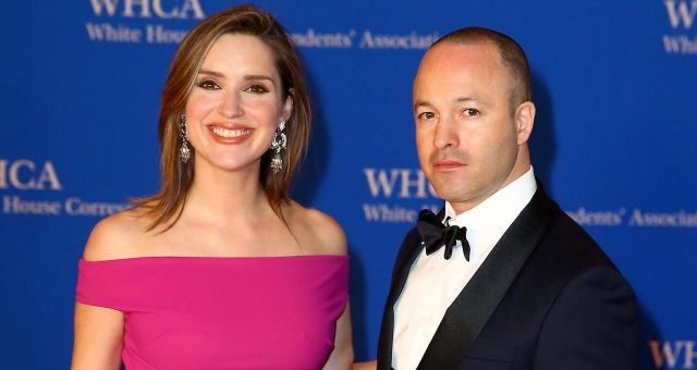 Journalist Margaret Brennan (L) and Yado Yakub attend the 2018 White House Correspondents' Dinner at Washington Hilton