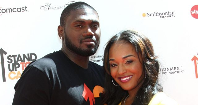 NBA player Jason Maxiell (L) and Brandi Maxiell arrive at Stand Up To Cancer held at Sony Pictures Studios