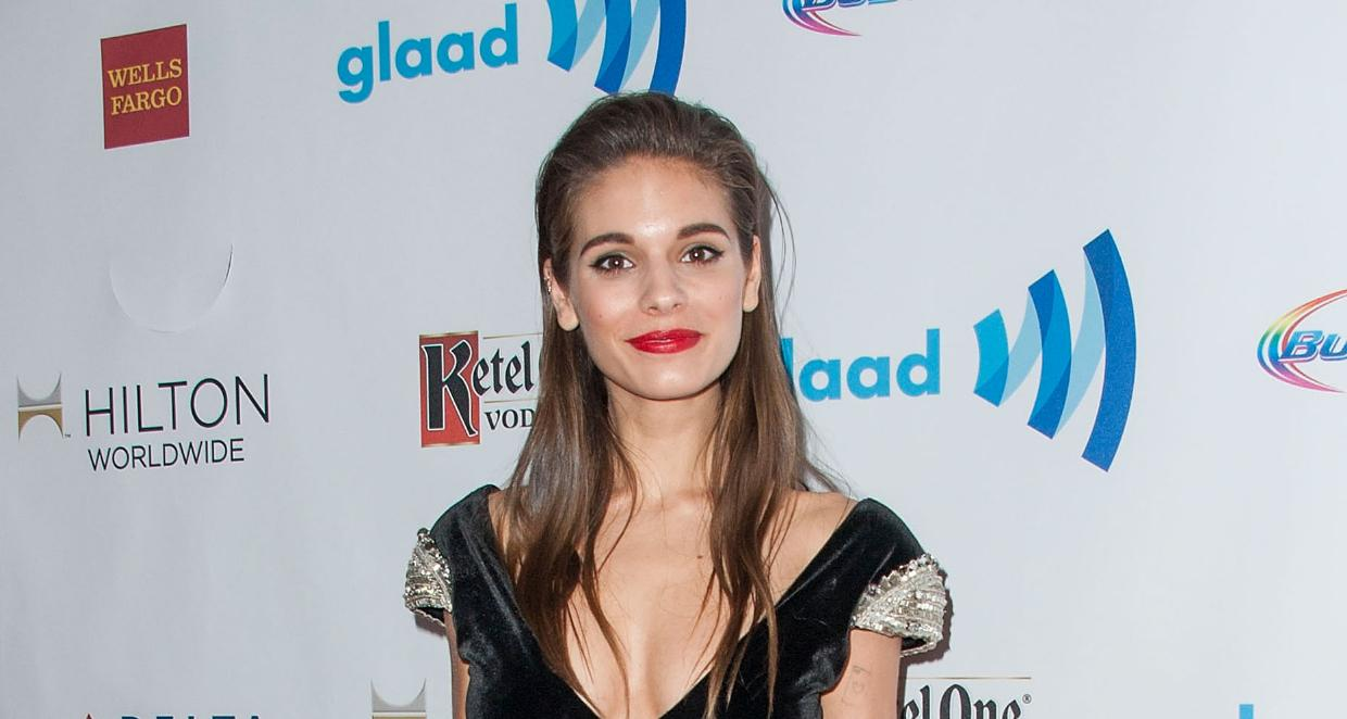 Actress Caitlin Stasey arrives at the 25th Annual GLAAD Media Awards at The Beverly Hilton Hotel