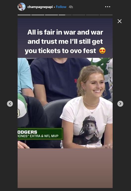 Drake Instagram Story trolling Mallory Edens
