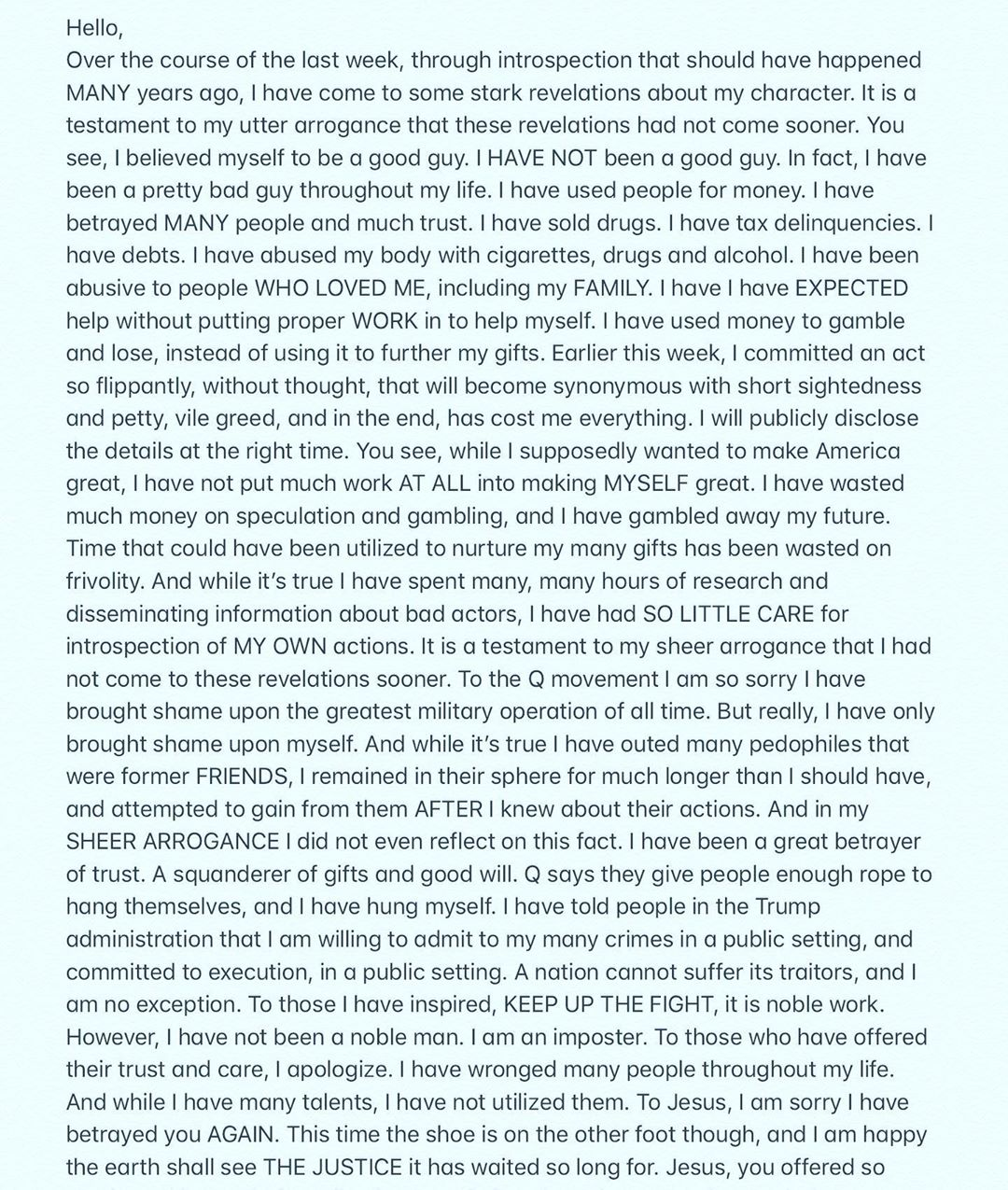 Isaac Kappy Suicide Instagram Post