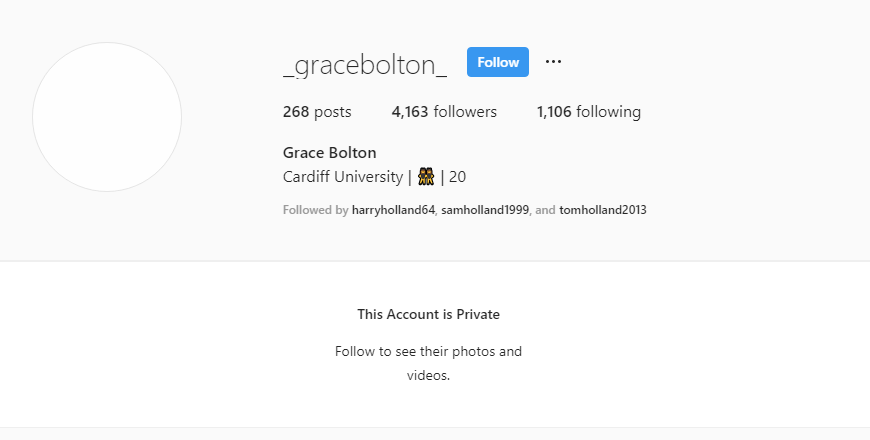 Olivia Bolton's Sister Grace Bolton's Private Instagram (Followed by Holland Brothers)