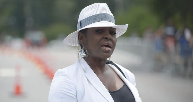 Leolah Brown speaks to the media at Bobbi Kristina Brown Funeral at St. James United Methodist Church