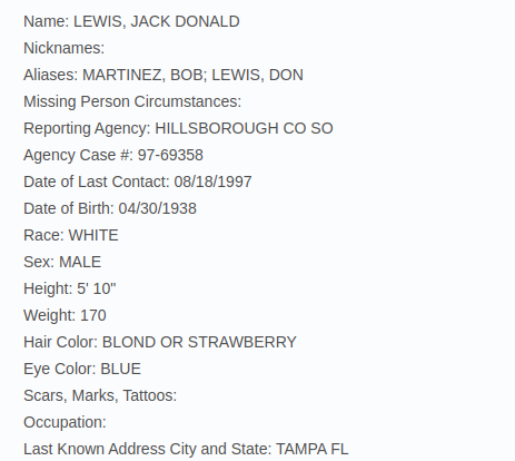 Jack Donald Lewis Don Lewis Missing Report