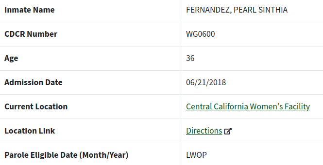 Pearl Fernandez Prison Records